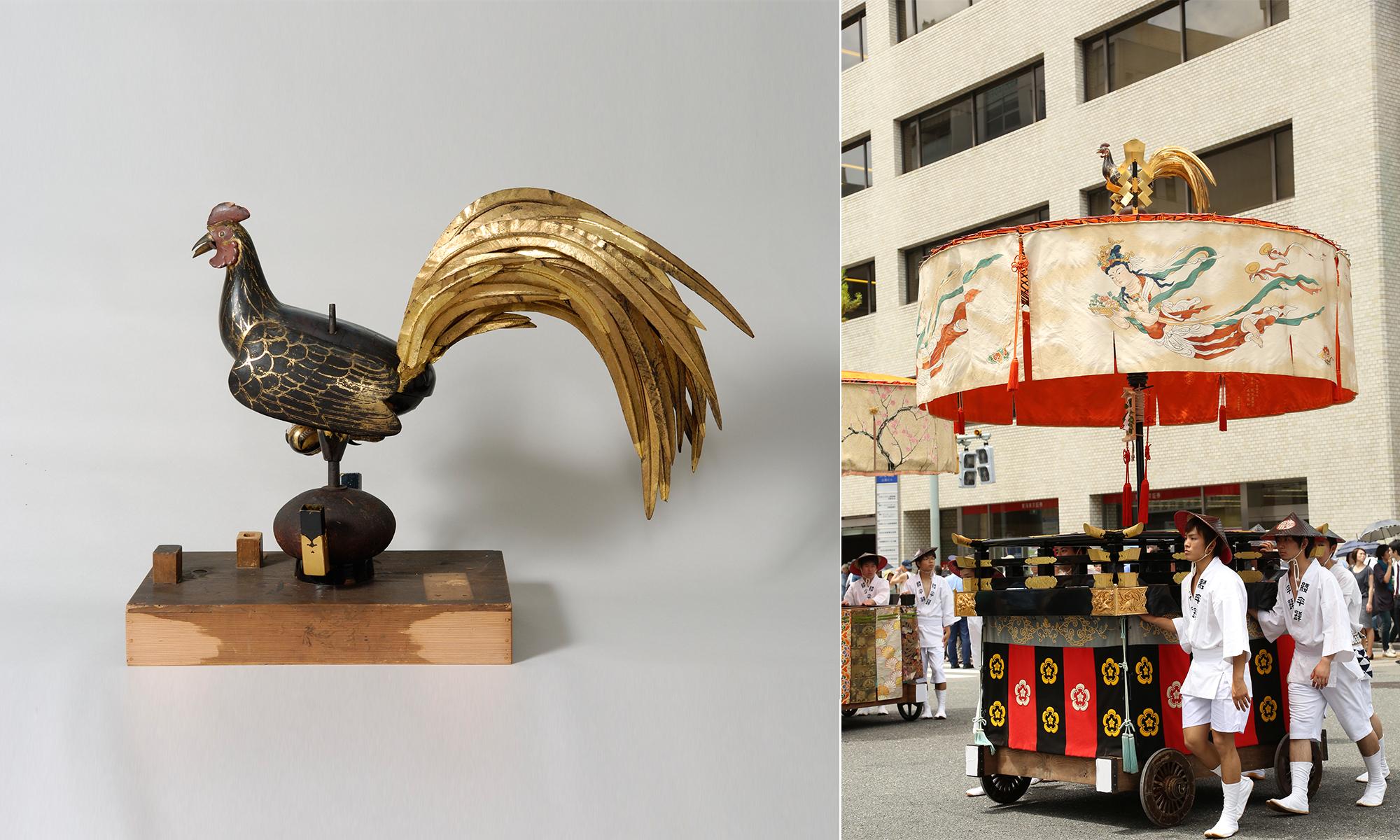 木彫漆箔鶏(御神体)